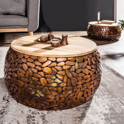 2er Set Couchtische RAVENNA Kupfer aus Mangoholz mit Metallplättchen im Mosaik-Design handgefertigt 65cm/53cm Ø - 1