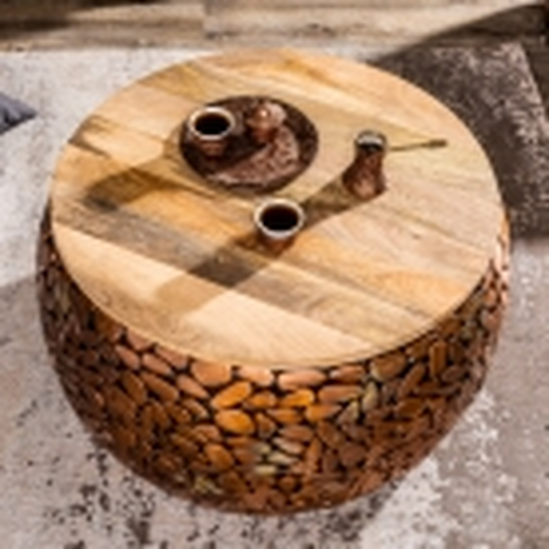 2er Set Couchtische RAVENNA Kupfer aus Mangoholz mit Metallplättchen im Mosaik-Design handgefertigt 65cm/53cm Ø - 2