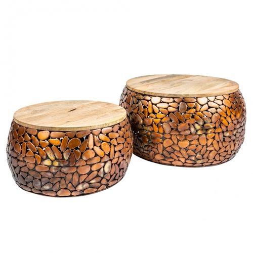 2er Set Couchtische RAVENNA Kupfer aus Mangoholz mit Metallplättchen im Mosaik-Design handgefertigt 65cm/53cm Ø - 3