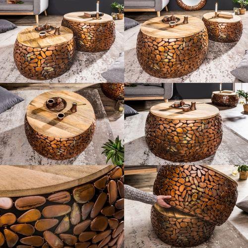 2er Set Couchtische RAVENNA Kupfer aus Mangoholz mit Metallplättchen im Mosaik-Design handgefertigt 65cm/55cm Ø - 5