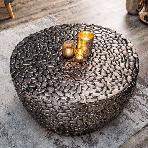 Couchtisch RAVENNA Silber aus Metallplättchen im Mosaik-Design handgefertigt 85cm Ø - 1