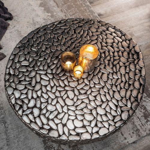 Couchtisch RAVENNA Silber aus Metallplättchen im Mosaik-Design handgefertigt 85cm Ø - 2