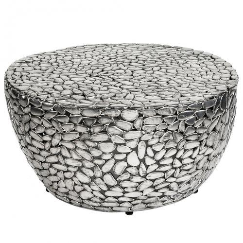 Couchtisch RAVENNA Silber aus Metallplättchen im Mosaik-Design handgefertigt 85cm Ø - 3