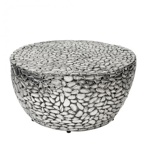 Couchtisch RAVENNA Silber aus Metallplättchen im Mosaik-Design handgefertigt 85cm Ø - 4
