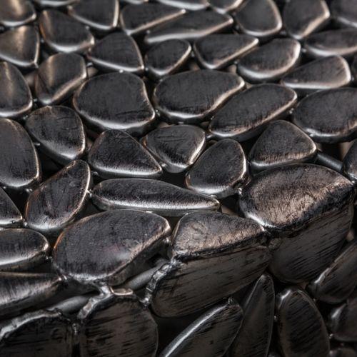 Couchtisch RAVENNA Silber aus Metallplättchen im Mosaik-Design handgefertigt 82cm Ø - 5