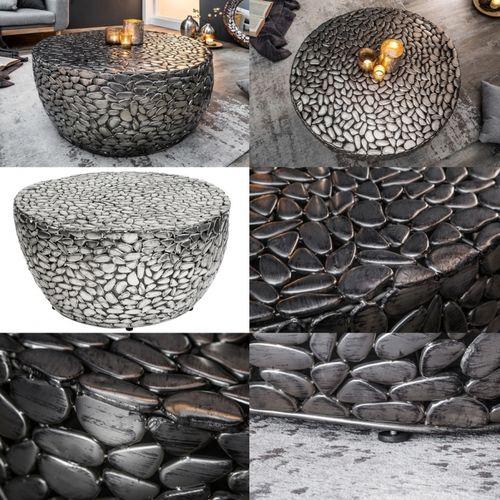 Couchtisch RAVENNA Silber aus Metallplättchen im Mosaik-Design handgefertigt 82cm Ø - 6