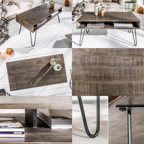 Couchtisch MALITA Grau aus Mangoholz mit 2 Ablagefächern und schwarzen Haarnadelbeinen aus Metall 100cm - 4