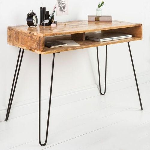 Schreibtisch MALITA Natur aus Mangoholz mit 2 Ablagefächern und schwarzen Haarnadelbeinen aus Metall 100cm - 1