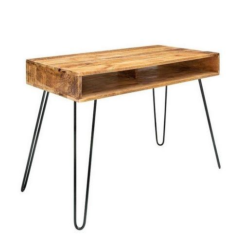Schreibtisch MALITA Natur aus Mangoholz mit 2 Ablagefächern und schwarzen Haarnadelbeinen aus Metall 100cm - 2