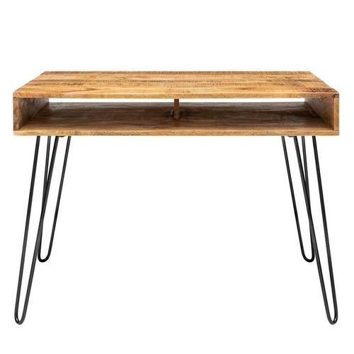 Schreibtisch MALITA Natur aus Mangoholz mit 2 Ablagefächern und schwarzen Haarnadelbeinen aus Metall 100cm - 3