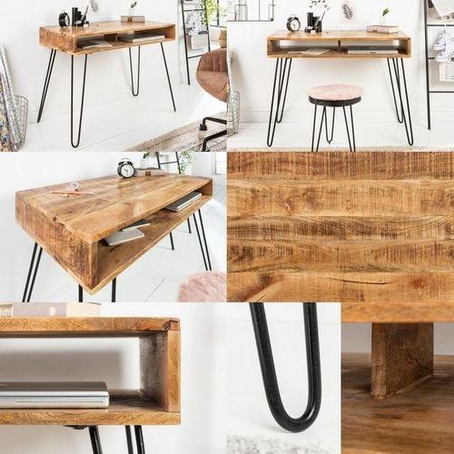 Schreibtisch MALITA Natur aus Mangoholz mit 2 Ablagefächern und schwarzen Haarnadelbeinen aus Metall 100cm - 4