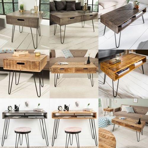 Schreibtisch MALITA Natur aus Mangoholz mit 2 Ablagefächern und schwarzen Haarnadelbeinen aus Metall 100cm - 5