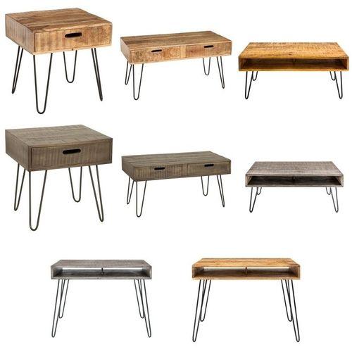 Schreibtisch MALITA Natur aus Mangoholz mit 2 Ablagefächern und schwarzen Haarnadelbeinen aus Metall 100cm - 6