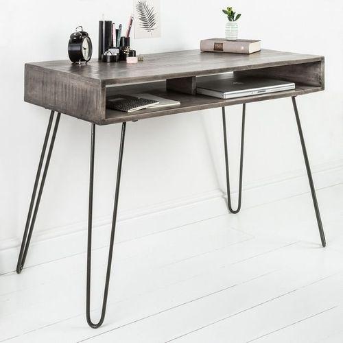 Schreibtisch MALITA Grau aus Mangoholz mit 2 Ablagefächern und schwarzen Haarnadelbeinen aus Metall 100cm - 1