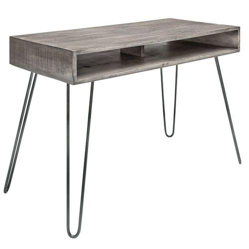 Schreibtisch MALITA Grau aus Mangoholz mit 2 Ablagefächern und schwarzen Haarnadelbeinen aus Metall 100cm - 2