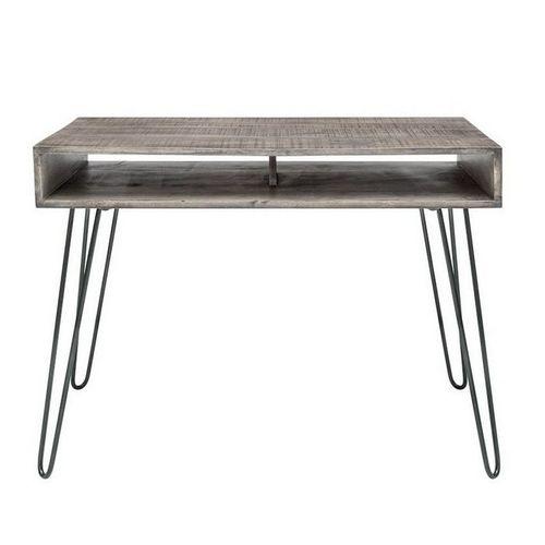 Schreibtisch MALITA Grau aus Mangoholz mit 2 Ablagefächern und schwarzen Haarnadelbeinen aus Metall 100cm - 3