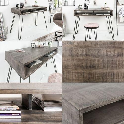 Schreibtisch MALITA Grau aus Mangoholz mit 2 Ablagefächern und schwarzen Haarnadelbeinen aus Metall 100cm - 4
