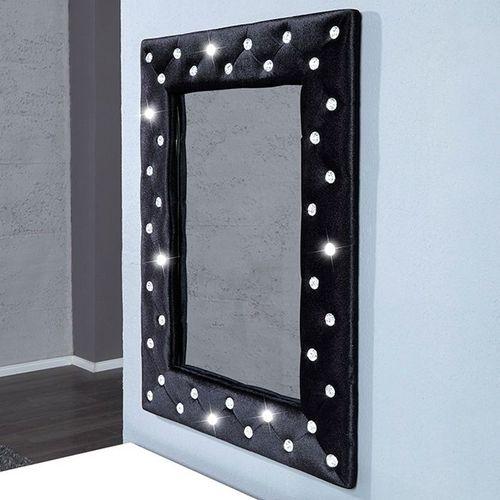Wandspiegel JOSEPHINA Schwarz aus Samt mit Strasssteinen in Barock-Design 80cm x 60cm | Vertikal oder horizontal aufhängbar! - 2