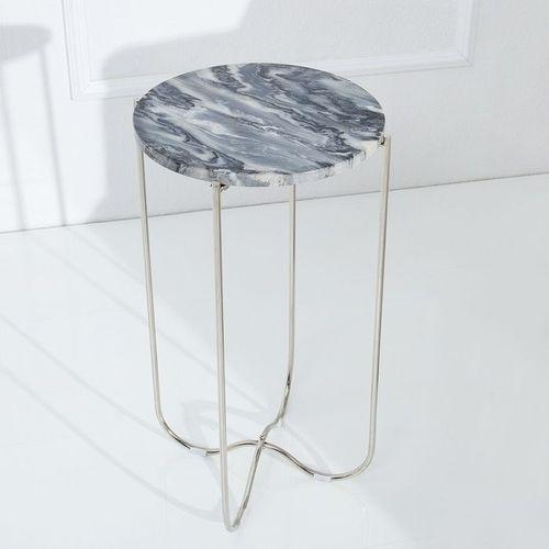 Beistelltisch FLORENTIN Grau Marmor mit Silber Gestell 35cm Ø - 2