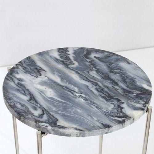 Beistelltisch FLORENTIN Grau Marmor mit Silber Gestell 35cm Ø - 3