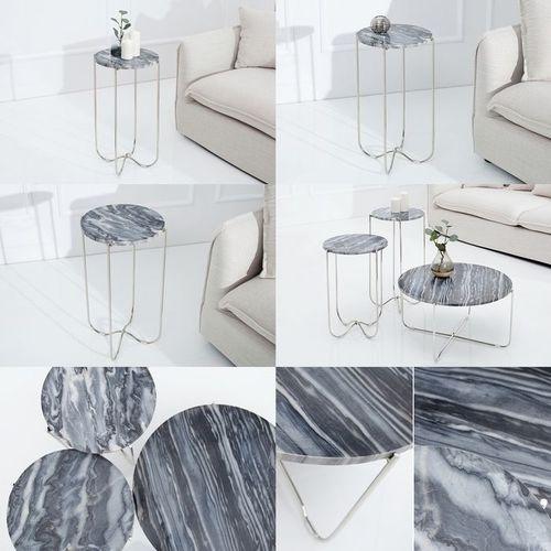 Beistelltisch FLORENTIN Grau Marmor mit Silber Gestell 35cm Ø - 4