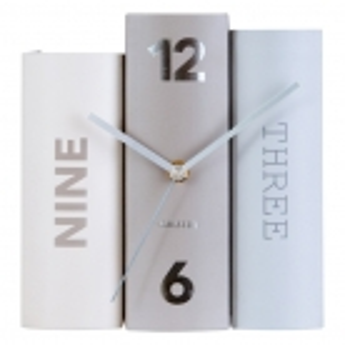Standuhr BOOK Pastell Grau aus Papier 20cm - 2