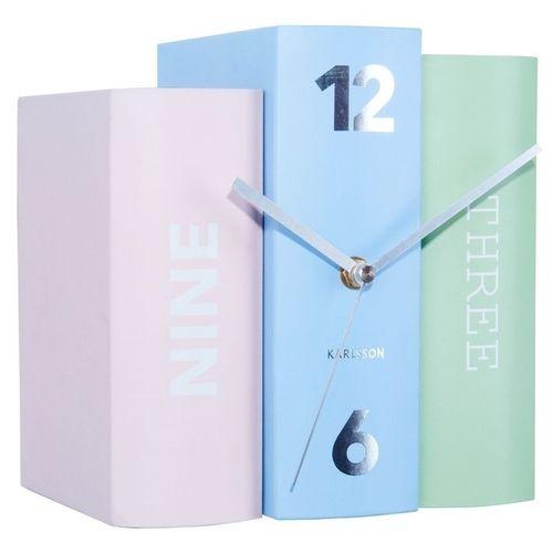 Standuhr BOOK Pastell Rosa-Blau-Mint aus Papier 20cm - 1