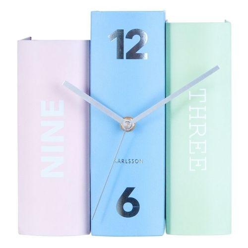 Standuhr BOOK Pastell Rosa-Blau-Mint aus Papier 20cm - 2