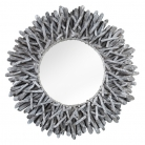 Wandspiegel SIBU Grau aus unbehandeltem Treibholz handgefertigt 80cm Ø - 2