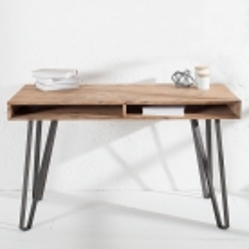 Schreibtisch PURI Natur Grau gekälkt Akazie mit 2 Ablagefächern und schwarzen gebogenen Beinen aus Metall 110cm - 1
