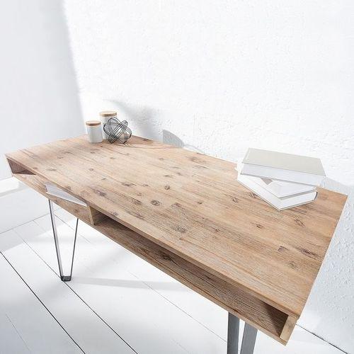 Schreibtisch PURI Natur Grau gekälkt Akazie mit 2 Ablagefächern und schwarzen gebogenen Beinen aus Metall 110cm - 2