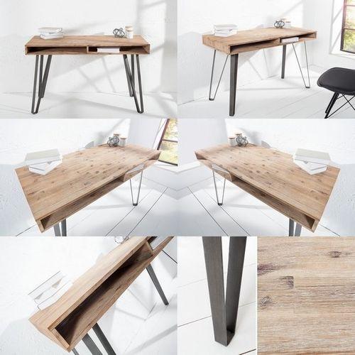Schreibtisch PURI Natur Grau gekälkt Akazie mit 2 Ablagefächern und schwarzen gebogenen Beinen aus Metall 110cm - 3