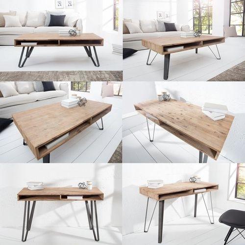 Schreibtisch PURI Natur Grau gekälkt Akazie mit 2 Ablagefächern und schwarzen gebogenen Beinen aus Metall 110cm - 4