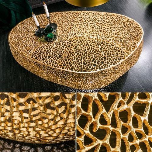 Couchtisch NUBE Gold aus Aluminium im Aststruktur-Design handgefertigt 122cm - 2