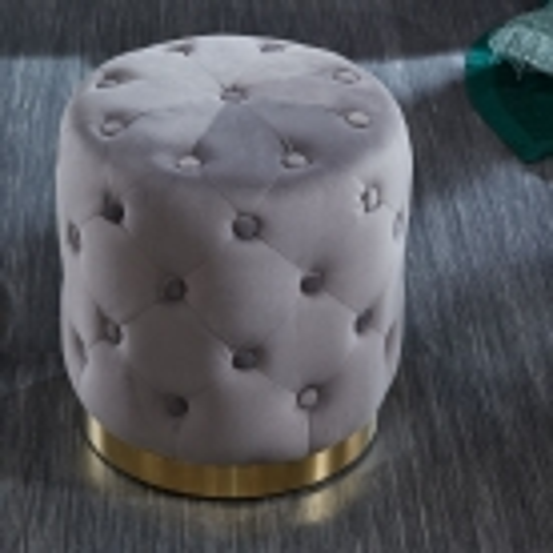 Sitzhocker POMPIDOU Grau aus Samtstoff gesteppt mit Gold Metallsockel in Barock-Design 36cm x 40cm - 1