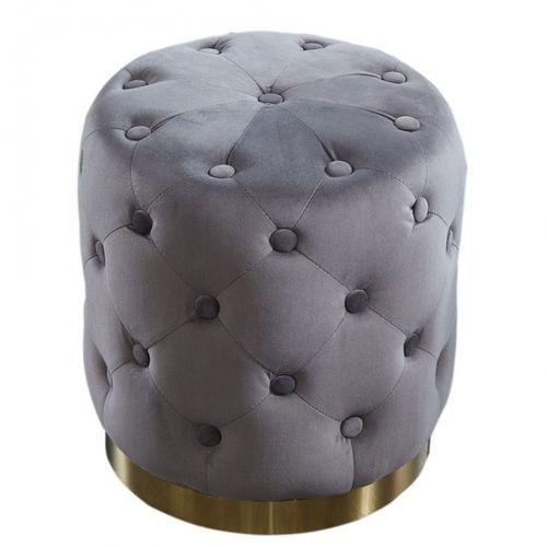 Sitzhocker POMPIDOU Grau aus Samtstoff gesteppt mit Gold Metallsockel in Barock-Design 36cm x 40cm - 2