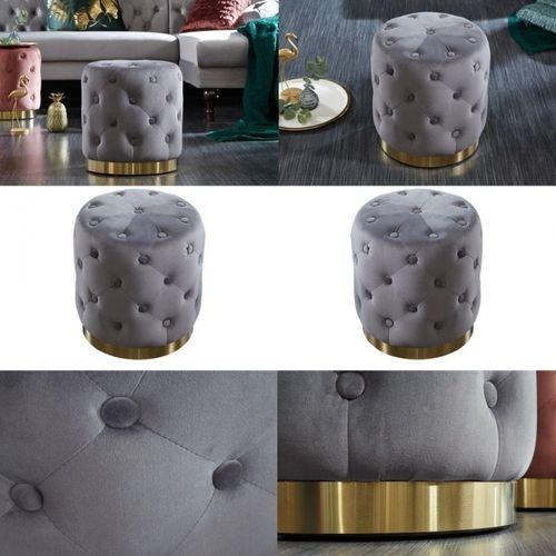 Sitzhocker POMPIDOU Grau aus Samtstoff gesteppt mit Gold Metallsockel in Barock-Design 36cm x 40cm - 3