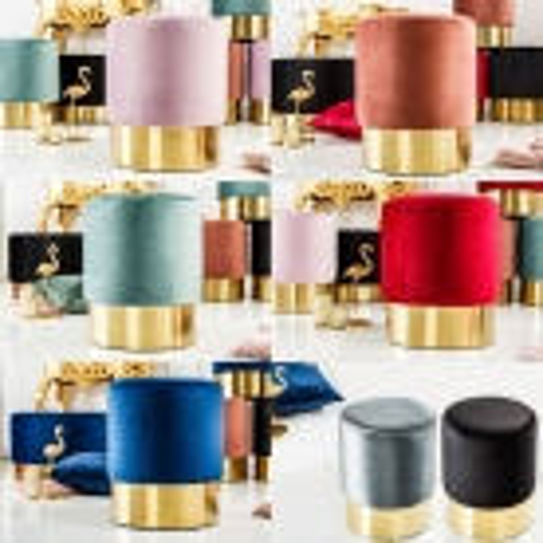 Sitzhocker POMPIDOU Grau aus Samtstoff gesteppt mit Gold Metallsockel in Barock-Design 36cm x 40cm - 4