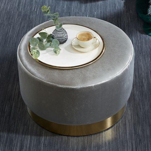XL Sitzhocker POMPIDOU Silber aus Samtstoff mit Gold Metallsockel in Barock-Design 55cm x 35cm - 1