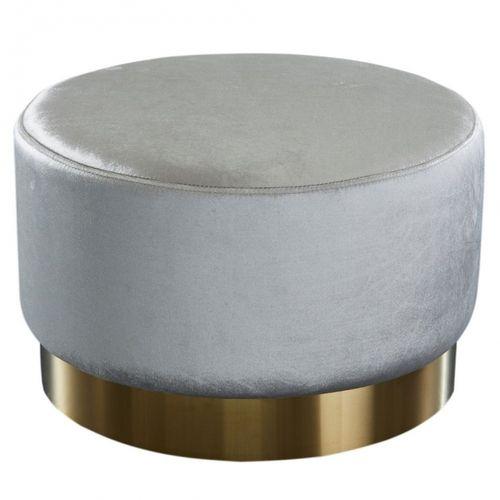 XL Sitzhocker POMPIDOU Silber aus Samtstoff mit Gold Metallsockel in Barock-Design 55cm x 35cm - 2