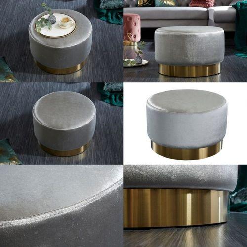 XL Sitzhocker POMPIDOU Silber aus Samtstoff mit Gold Metallsockel in Barock-Design 55cm x 35cm - 3