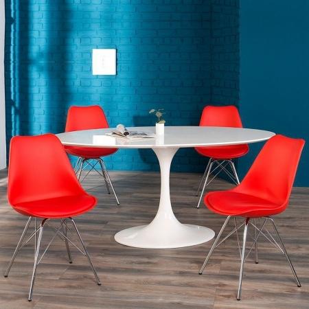 Retro Stuhl GÖTEBORG Rot & Chromgestell im skandinavischen Stil - 1