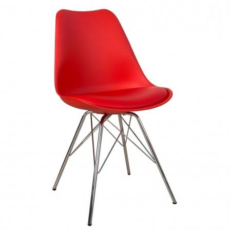 Retro Stuhl GÖTEBORG Rot & Chromgestell im skandinavischen Stil - 2