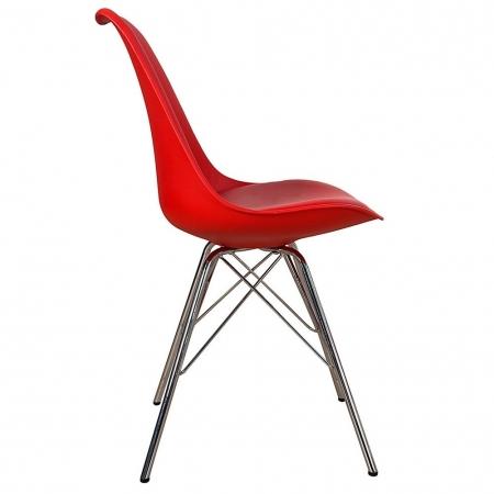 Retro Stuhl GÖTEBORG Rot & Chromgestell im skandinavischen Stil - 3
