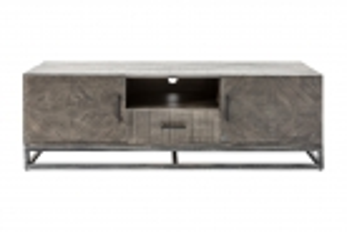 TV-Board SITA Graufinish massiv Mangoholz Fischgratmuster Metallsockel Vintage 160cm - 4
