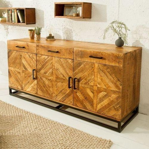 Sideboard SITA massiv Mangoholz Natur Fischgratmuster Metallsockel Vintage 160cm - 1
