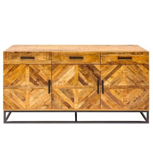 Sideboard SITA massiv Mangoholz Natur Fischgratmuster Metallsockel Vintage 160cm - 3