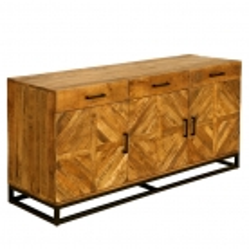 Sideboard SITA massiv Mangoholz Natur Fischgratmuster Metallsockel Vintage 160cm - 4