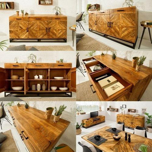 Sideboard SITA massiv Mangoholz Natur Fischgratmuster Metallsockel Vintage 160cm - 5