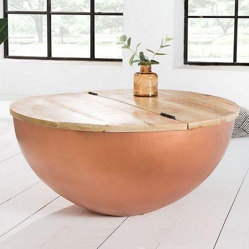 Industriedesign Couchtisch PULIM Natur aus Mangoholz und Metallkorpus Kupfer 70cm Ø - 1